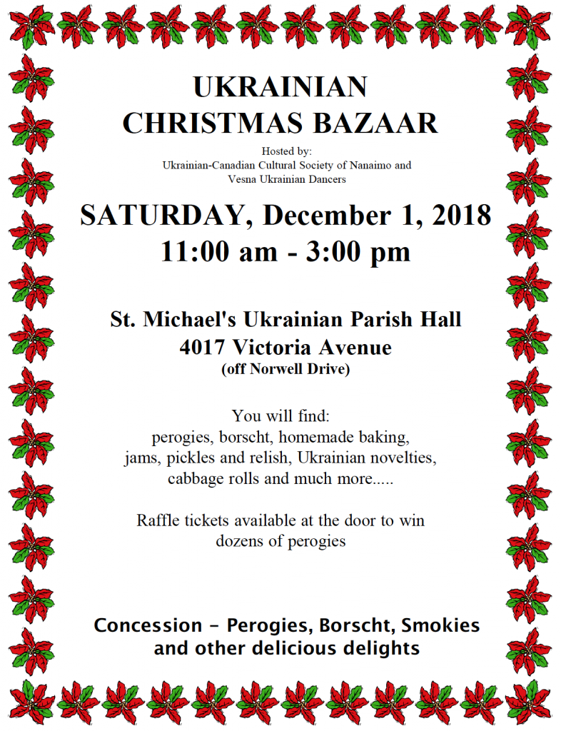 Announcement of Ukrainian Christmas Bazaar, 1–2 December 2018